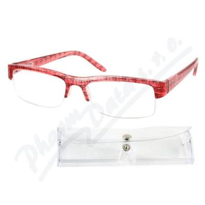 Brýle čtecí +3.50 červeno-černé s pouzdrem