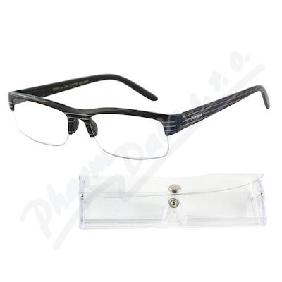 Brýle čtecí +1.00 UV400 černé s pruhy a pouzdrem