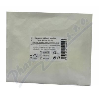 Tampón stáčený z gázy sterilní 30x30/5ks Steriwund