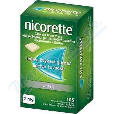 Zobrazit detail - Nicorette Classic Gum 2 mg léčivá žvýkací guma 105